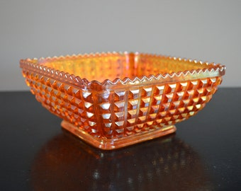 """Vintage Imperial Glass Company Marigold waffle block square bowl (8"""" across x 3.5"""" tall)"""