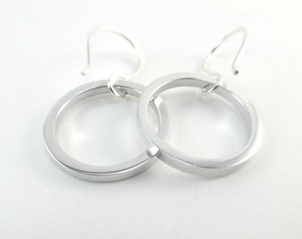 Aluminum Hoop Earrings, Argentium Silver Ear Wires, 10th Anniversary Gift For Her, Handcrafted Hoops, Silver Hoops, Vancouver Canada
