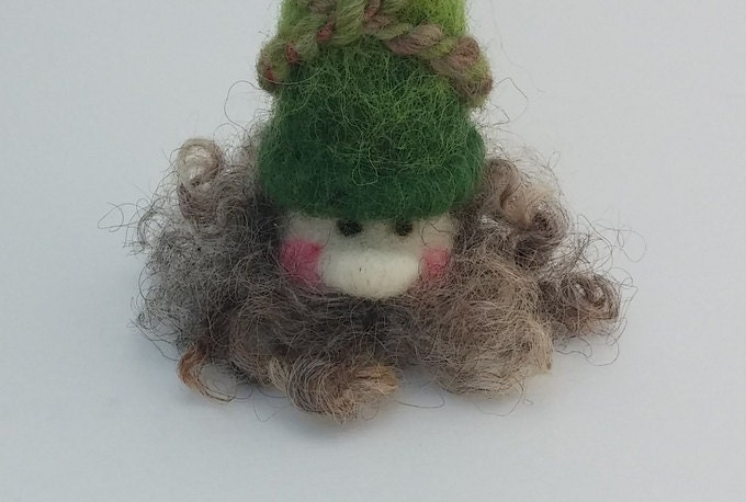 Gnome Garden: Gnome Green Wool Needle-felted Handmade