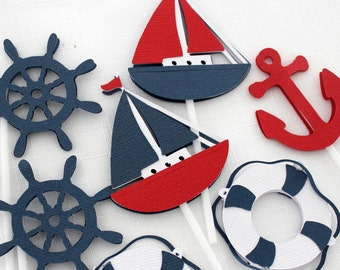 12 x Nautical Themed Cupcake Toppers; Sailing Boat, Anchor, Life Saver & Helm - Navy, Red, White