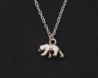 tiny bear necklace, long necklace option, silver 3D bear charm on silver plated chain, grizzly bear charm necklace, wild animal, baby bear