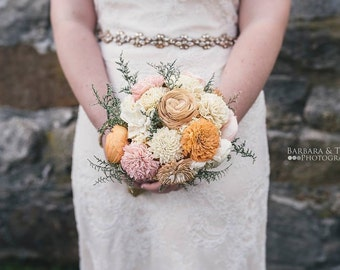 Sola Bouquet, Peach, Orange, Wedding Bouquet