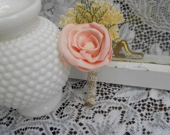 Rosy Pink Boutonniere, Sola Flower Boutonniere