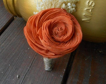 sola Boutonniere, Burnt orange, sola flowers