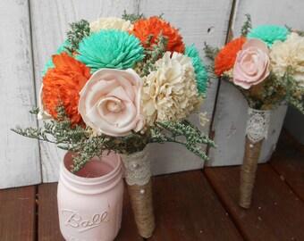 Orange Teal Bouquet, Sola Bouquet, Wedding Bouquet, Rustic Wedding