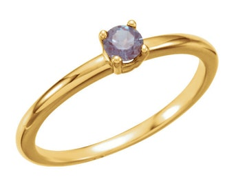 14K Yellow Jun Birthstone Ring