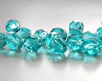 25 Light Teal Fire Polished Czech Beads, 6mm Round Beads, Czech Beads, Supplies, Beads, Jewelry Supplies, Bead Supplies, Jewelry Making