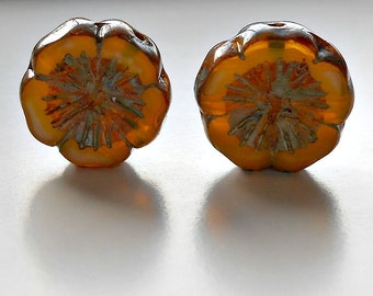 2 Sunflower Czech Picasso Pansies, 14mm Picasso Pansy, Flower Beads, Beads, Supplies, Jewelry Making