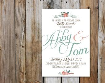 Fancy Script Vintage Inspired Wedding Invitation