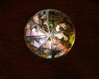"Vintage Sterling Abalone 1.90"" diameter Brooch/Pin"