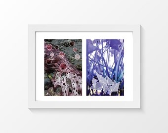 "Sea art & Nenuphar / Seaweed beach circles bordeaux water plant violet home decor downloadable art to print yourself / A3 and 11"" x 17"""
