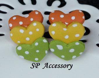 heart earrings, flower earrings, earrings clay, jewelry earrings, clay earrings, heart stud, flower stud