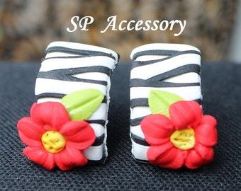 Flower zebra black-white Earrings, earrings clay, jewelry earrings, clay stud
