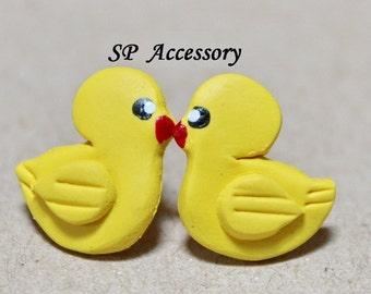 Lovely Duckling Earrings, earrings clay, jewelry earrings, clay stud, clay earrings, yellow earrings