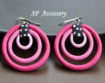 Pink clay earrings, Lovely Dangle Multiple Circles Earrings, earrings clay, jewelry earrings