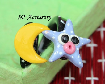 Ring Star and Moon, clay ring, jewelry ring, fancy ring, star ring, moon ring, ring clay, lovely ring