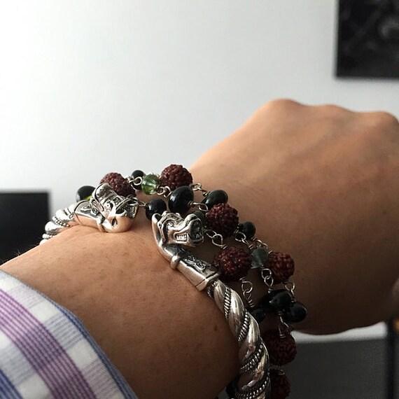 bracelet avec des t tes de loups viking bronze bracelet de. Black Bedroom Furniture Sets. Home Design Ideas