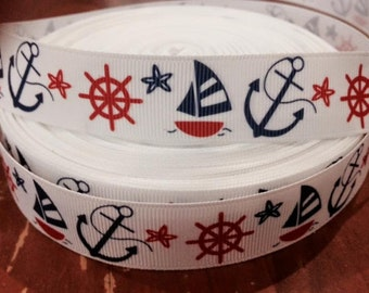 "Lot of 2 Metres of 7/8"" Grossgrain Ribbon - Nautical Ship/Boat/Anchor - For Craft"