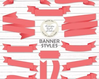 VECTOR Banners, Coral red banner clipart, banners, ribbons and labels, vector banner, vector ribbon