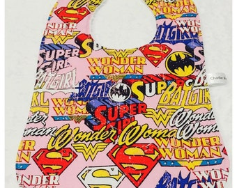 Superhero Girls Bandana or Large baby bib - Handmade - Pink