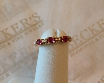 Beautiful vintage 18k yellow gold Ruby & Diamond Wedding band ring, .38 ctw, small finger size 3.75