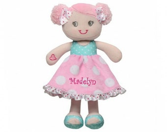 Personalized Hearts & Bows Snuggle Doll - 11 inch