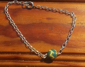 Green and yellow chevron/chain 7 1/2 inch bracelet