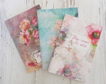 A6 notebooks, 3 notebooks handmade, stationery set, illustrated flowers notebooks, little diary, bloc-notes, cute notebooks