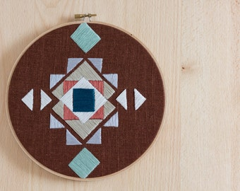 Tribal Pattern Hand Embroidery - 8 inch hoop