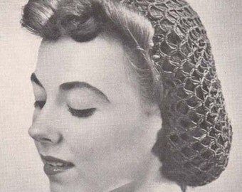 Crochet Snood Fishnet Hair Net Hat Hairnet Vintage Crochet Pattern PDF Instant Download