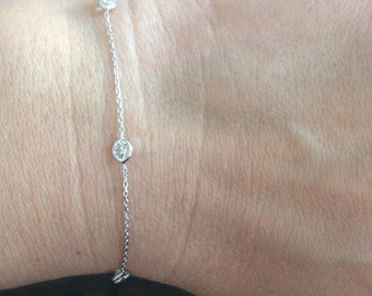 """14k solid white gold and cubic zirconia """"everyday"""" bracelet, cz by the yard"""