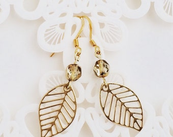 Gold Leaf Earrings, Large Leaf Earrings, Dangle Earrings, Leaf Earrings, Gold Earrings, Filigree Leaf Earrings, Gold Czech Crystal Earrings
