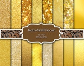 Digital Gold Paper , Gold Bokeh , Gold Glitter Paper , Digital Gold Foil , Gold Background Gold Metallic Paper Pack 8.5x11 Buy 2 Get 1 FREE