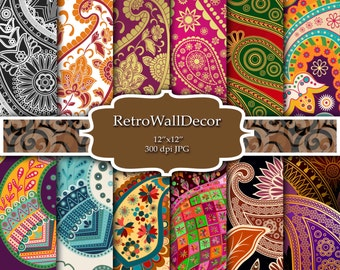 Paisley Digital Papers Paisley Scrapbook Paper Colorful Paisleys Paisley Textures  Paisley Pattern  Paper Pack 8.5x11 in Buy 2 Get 1 FREE