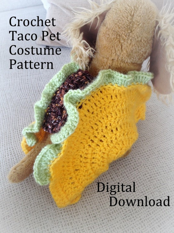 Taco Pet Costume Crochet Pattern Taco Cat Crochet by ...