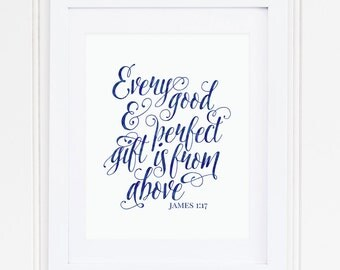 NAVY BLUE, Every Good and Perfect Gift, James 1:17, Nursery Wall Art, Nursery Decor, Scripture, Bible Verse, PRINTABLE, Instant Download
