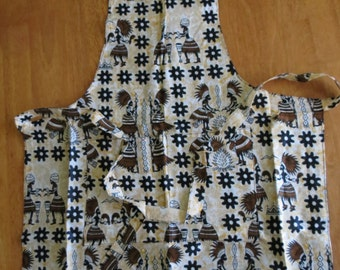 African print kitchen set - apron, 2 oven mitts and 2 pot holders
