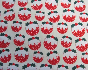 Christmas Pudding Polycotton Dress/Craft Fabric …