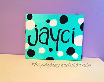 Polka Dot Name Canvas