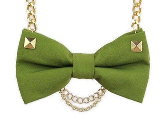 Green Bow Tie Necklace with Gold Pyramid Studs and Gold Chains - Bow Jewelry, Easy No Tie Bow Tie - Great for Office, Wedding - Jade OGP19