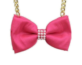 Pink Bow Tie Necklace with Pearls - Bow Jewelry, Accessories, Statement Necklace, No Tie Bow Tie, Great for Office, Wedding - Wilma PPRL7
