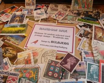 50 Random Postage Stamps - Worldwide Mix