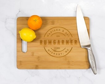 Personalized Bamboo Cutting Board With Handle -Custom Name Bamboo Cutting Board,Custom Wood Gift,Wooden Wedding Gift