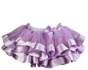 Lavender Satin Ribbon Trim Tutu, Little Girl, Toddler, Big Girl - Sizes XS, S and M