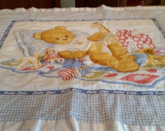 Hand stitched baby quilt.  Teddy bear.
