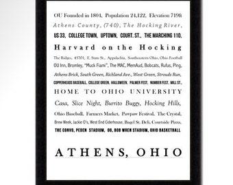 8x10 Athens, Ohio Word Portrait Print