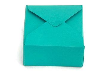 Square box - set of 4 - green gift box- sea green- small favor box- treat box