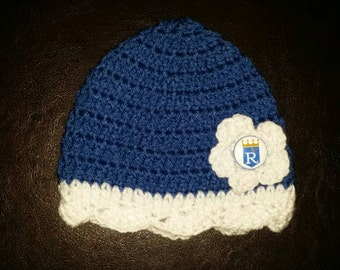 Crocheted Kansas City Royals hat, available in sizes newborn to adult