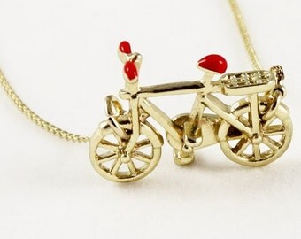 Bicycle Necklace, Gold Chain, Two Wheeler, Bicycle Jewellery, Cyclist Gift, Triathlon