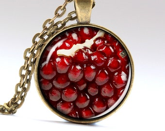 Pomegranate Necklace Red Jewelry Fruit Pendant Pomegranate Pendant Pomegranate Jewelry Red Necklace red Pendant Fruit Necklace LG476
